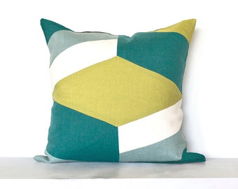 """SALE ITEM - 18""""X18"""" -Geometric """"Illusion""""  Colorblock Pillow Cover- Teal / Lime Combo"""