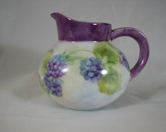 Pitcher with hand painted Blackberries