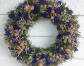 Blue Dried Flower Wreath