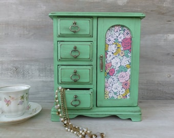 Mint Green Distressed Jewelry Box