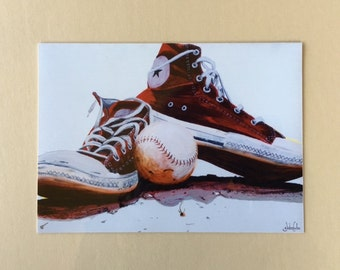 Reds| Converse| Chucks| Red All Stars| Red Converse| Red Chucks| Sneakers Art| Converse Painting| Chucks Painting| 8x10 print| Shoes