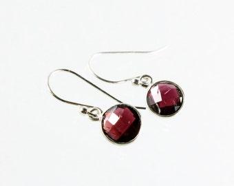 Garnet earrings, Sterling Silver, deep red gemstone earrings, fine earrings, dangle earrings, January birthstone, gift for her, ER3235