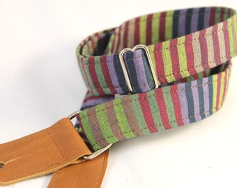 Ukulele Strap in Mulberry Stripe with Leather ends and optional tie lace