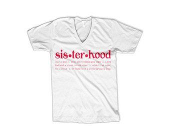 Sisterhood Definition T-shirt (white V-neck)