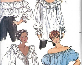 Butterick 5463 Misses Top Pattern, Peasant Top, Boho Top, Size 6-10, UNCUT