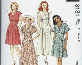 ON SALE McCall's 8181 Misses Empire Dress Pattern, Two Lengths, Size 8-10-12 Uncut