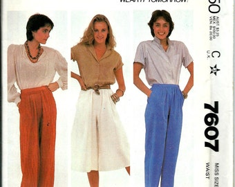 Missses Pants and Culottes Sewing Pattern, Elastic Ankle Pants McCall's 7607 Sizes 8, 10, 12 & 14
