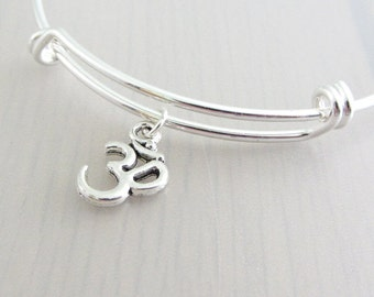 Silver Om Charm Bangle, Om Charm Bracelet, Adjustable Charm Bangle, Silver Yoga Bangle, Stackable Bracelet, Aum Bangle, Ohm Bangle