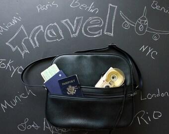 Vintage Shoulder Bag Carry On Luggage Dark Navy Blue and Black Tote