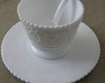 Vintage Milk Glass Serving Dish with Saucer and Spoon