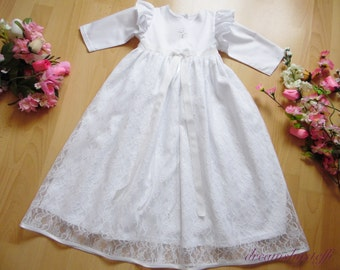 Long christening gown tulle lace, pure cotton dress, lace 100% polyester,varioussizes