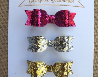 Felt Hair Bows with Gold Hearts, Set of 3, Gold Metallic Heart and Felt Hair Bows. Pink Hair Bow, Mint Felt Bow
