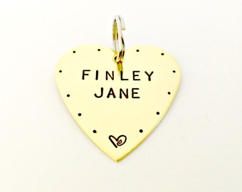 Pet ID Tag - Custom Dog Collar Pet Tags - Personalized Dog Tag - Hand Stamped Identification Tag - Heart Shaped Large Dog Name Tag - Brass