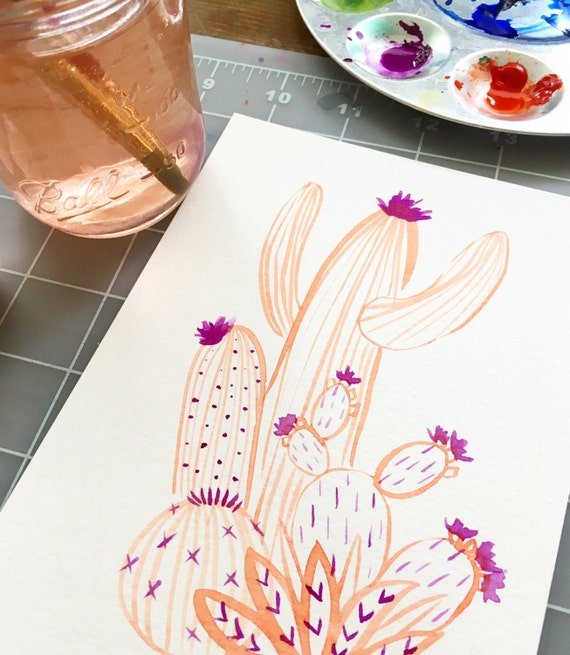 Cactus Party in Peachy // Original Watercolor Painting // Cactus Art // Succulent Art // Colorful Art // Desert Art // Botanical Art //