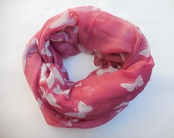 Butterflies, antic pink, soft scarf.