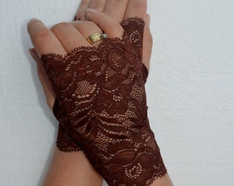 Lace Brown Fingerless gloves, Brown Stretch Lace Short Gloves