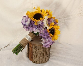 Sunflower Bouquet, Rustic Wedding Bouquet, Creama Calla Lilies Purple Lavender Hydrangea Sunflower Wedding