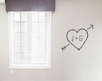 Carved Heart Wall Decal  - Personalized Monogram Decal, Monogram Decal, Initial Wall Decal, Monogram Wall Sticker, Carved Heart, Cupid Arrow