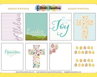 Easter Full Boxes Planner Stickers - Erin Condren or Happy Planner - Christian