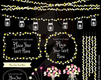 Mason Jar Lights Glowing Wedding Fairy String Lights Clipart COMMERCIAL USE Save The Date Banner Pink Flowers Graphics Png Download 10717