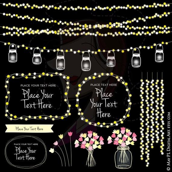 Mason Jar Lights Glowing Wedding Fairy String Lights Clipart