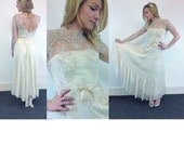 Boho Lace and tulle wedding dress made from antique 1930s dress