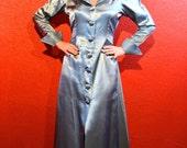 1940s Satin Lounge Robe Light Blue Deco Lingerie