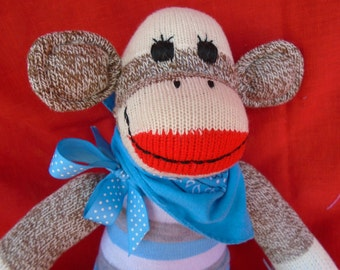 Baby Boy/Little Brother Brown Red Heel Sock Monkey Doll Baby Shower Gift