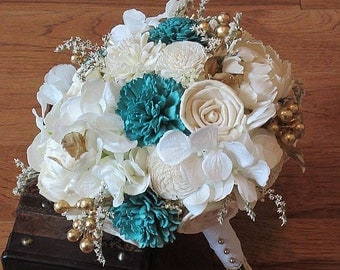 Wedding Bouquet, Sola wood Bouquet, Burlap, bridal  Bouquet, Alternative Bouquet, bouquet, Sola flowers, Wood Bouquet