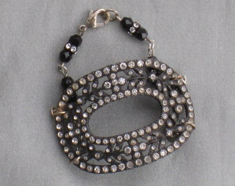 Vintage Components Bracelet with Large Antique Rhinestone Paste Buckle - Beads, Rhinestone Button Charm - Jewelry; Vintage Jewelry Supplies