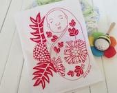 "Flour Sack Towel - Screen Print Tea Towel - Kitchen tea towel - Hawaiian illustration - ""Lehua&Ohia's Baby with the Ulu (breadfruit)"""