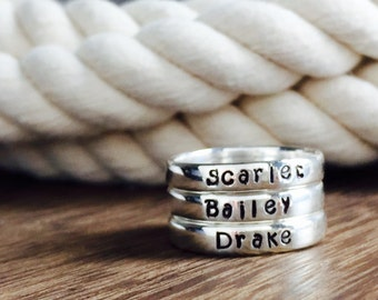 Sterling Silver Hand Stamped Mommy Rings / Personalized Silver Bands / Stackable Name Bands / Monogram Rings / Name Rings /