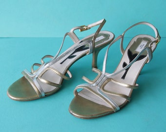 PRADA metallic gold silver leather strappy ankle strap mid high kitten heel summer sandal shoes Size 38 7.5