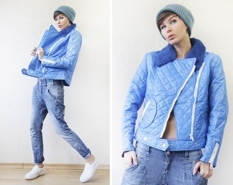 Vintage mod electric blue quilted asymmetric zip faux fur collar cropped jacket S
