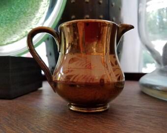 Vintage English Whispy Design  Hand-Painted Copper Lustre Pitcher Creamer Jug