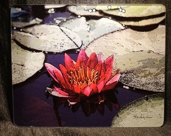 Large Glass Cutting Board - Red Lily  12 in x 15 in