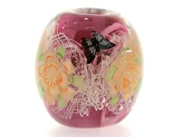 "Big handmade Lampwork Japanese Satake Glass Focal Bead ""Blooming"" A84 SRA Shirley"