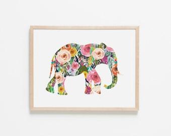 Floral Elephant Nursery Art. Nursery Wall Art. Nursery Prints. Nursery Decor. Girl Wall Art. Floral Wall Art. Instant Download.