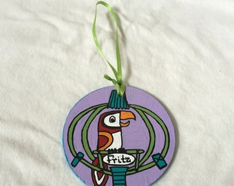 Tiki Room Inspired Birds Glass Ornament