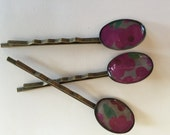 Hair Pins Barrettes Bobby Pins Fucshia Pink and Red Flowers Set of 3