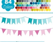 70% Sale Bunting Flags, Colorful Bunting Banners, Rainbow Banners Clip Art, Huge Clipart Pack - Vector Flags Clipart