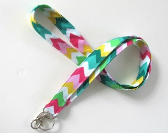 Lanyard ID Badge Holder, Rainbow Chevron Keychain, Keys Holder, Fabric Lanyard, Key Lanyard
