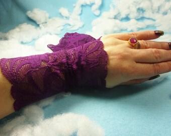 Purple lace bracelet, Lace wrist cuff, Lace victorian glove, boho lace bracelet, stretch lace bracelet, wrist tattoo cover, cuff