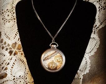 Steam punk locket mad hatter style jewelry hand made pocket watch