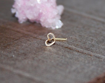 Nose Stud Heart, 14k Gold Filled Heart Nose Stud/Sterling Silver Heart Nose Stud, 24 Gauge Tiny Gold Nose Ring, Tiny Nose Ring, Nose Jewelry