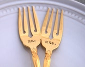 GOLDEN ARTISTRY 1965 Gold Plated WEDDING Hand Stamped Mr. & Mrs. Forks Cake Table Setting Made in Usa Engagement Gift Wedding Decor