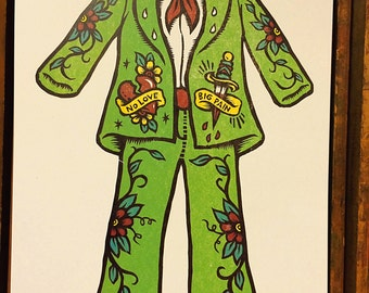 Woodcut Art Print - No Love, Big Pain Rodeo Suit