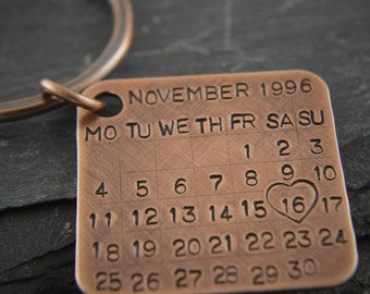 Solid bronze gift, 8th and 19th wedding anniversary. Bronze anniversary gift for him. Pure bronze. Bronze Key Chain Date Tag Calendar charm