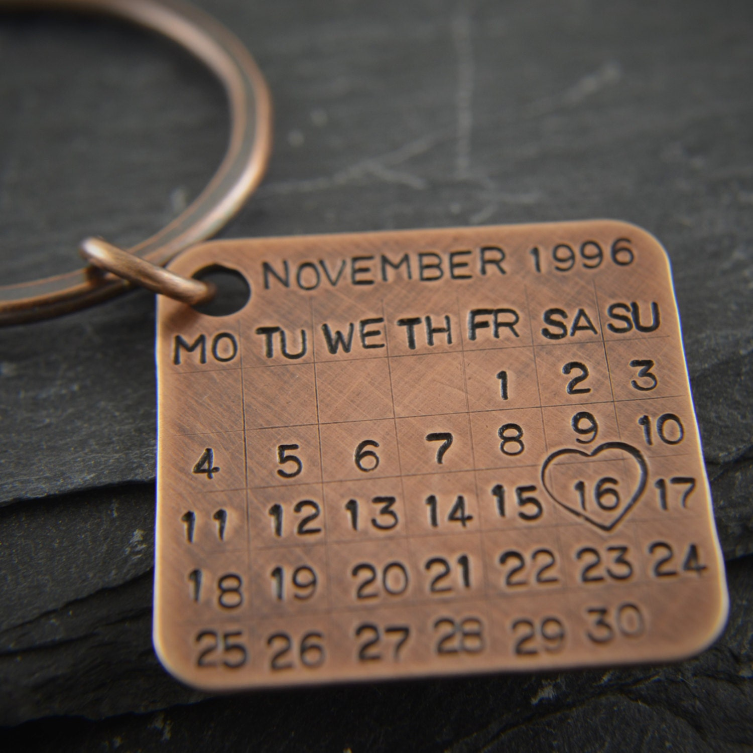 8th Wedding Anniversary Gift Ideas For Him : Bronze Key Chain Date Tag Calendar charm. by PersonalizedTreazure