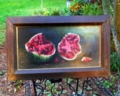 1880s French Country Antique Rare American Oil Canvas Broken Watermelon Still Life Painting Vintage Farmhouse Rustic Primitive Wall Folk Art